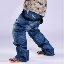 2017 NEW Skis Trousers Unique Denim Suspenders Skiing pants Waterproof Breathable Warm Skiing and Snowboarding Pants cheap libo COTTON Polyester Microfiber Zipper Fly M S PT 001 Full Length Waterproof Breathable Windproof Warmth 10000mm