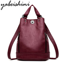 YABEISHINI Fashion Multifunction Women Backpack Designer Leather Large Capacity Travel Bag Female Rucksack Shoulder Bag Mochila casual double zipper women backpack drawstring pu leather bagpack large capacity travel bag female rucksack shoulder bag mochila