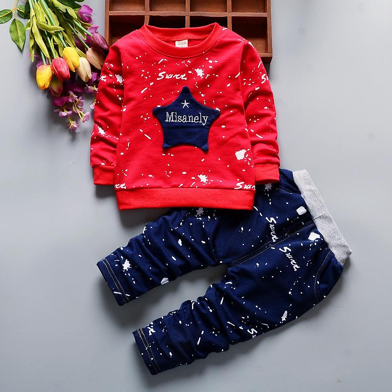 1 2 3 4 Year Boys Suits 2018 New Spring Autumn Long Sleeve Children Clothing Set Cotton Shirts Pants 2pcs Toddlers Kids Clothes
