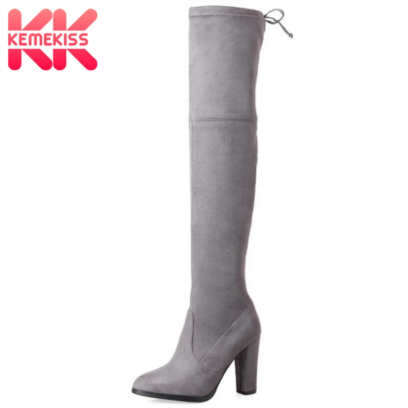 KemeKiss Women Genuine Leather Elastic Over Knee Boots High Heel Boots Warm Shoes In Winter Long Botas Women Footwear Size 34-39 plus size 34 43 autumn winter genuine leather women flower shoes lady high heel long boots embroidered over knee high snow boots