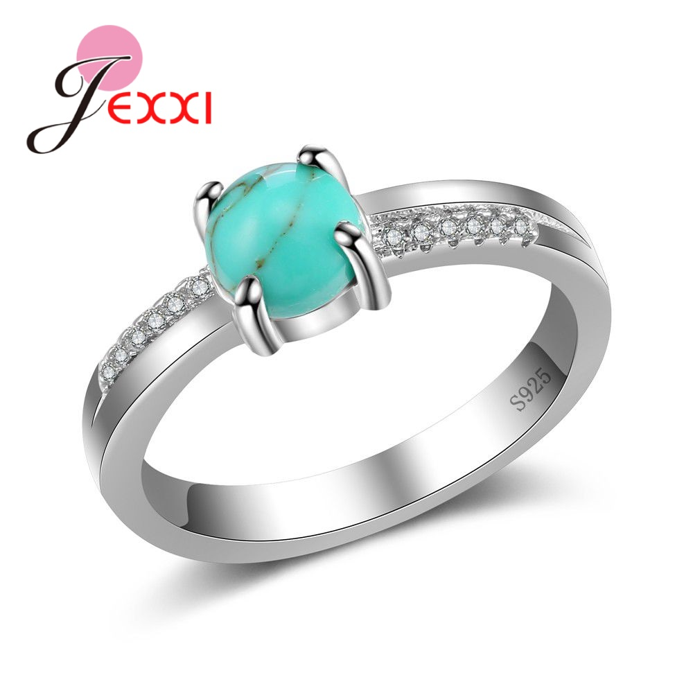 High Quality Green Round Opal Jewelry 925 Sterling Silver Prong Setting Ring For Women Female Party Wedding