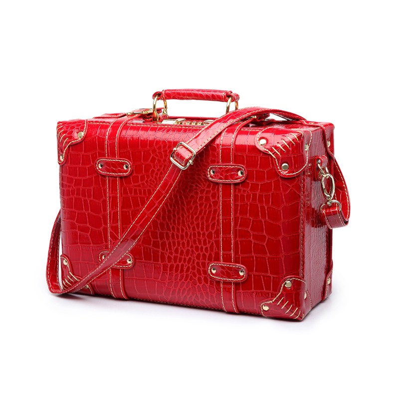 LeTrend Retro Rolling Luggage Women Password Travel Bag Red Trolley Suitcase Wheels Vintage 13 15 18