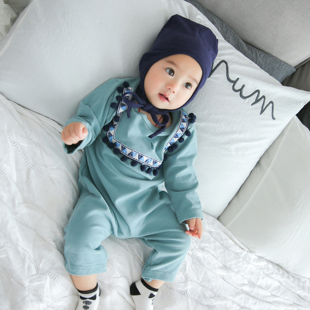 Newborn Autumn Baby Boys Ethnic Style Rompers with Tassel 2018 Infant Outfits Clothes Romper+Hat Clothing Set for Baby Clothes cardigan