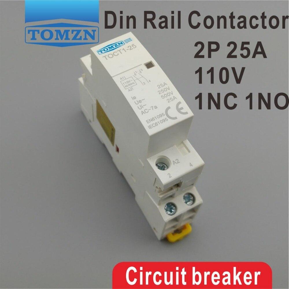 TOCT1 2P 25A 110V COIL 230V 50/60HZ Din rail Household ac Modular contactor 1NC 1NO toct1 2p 16a 220v 230v 50 60hz din rail household ac modular contactor 2no or 1no 1nc