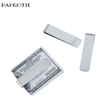"PACGOTH 304 Stainless Steel Money Clip Rectangle Silver Tone Blank Stamping Tags 71mm(2 6/8"") x 17mm( 5/8""), 1 PC"