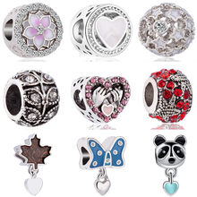 New Fashion Silver Color Hearts Panda Pug Dog Leaf Hamsa Hand Charms Beads Fit Pandora Bracelets for Women DIY Jewelry Perles(China)