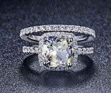 TRS008 Роскошные Качество NSCD синтетический камень 3 карат Подушка Cut Обручение обручальное кольцо Набор для Для женщин, Свадебный комплект