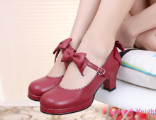 Japanese Lolita Cosplay Princess Shoes PU Leather Sweet Bow Strap Square Medium Heel Mary Jane Shoes