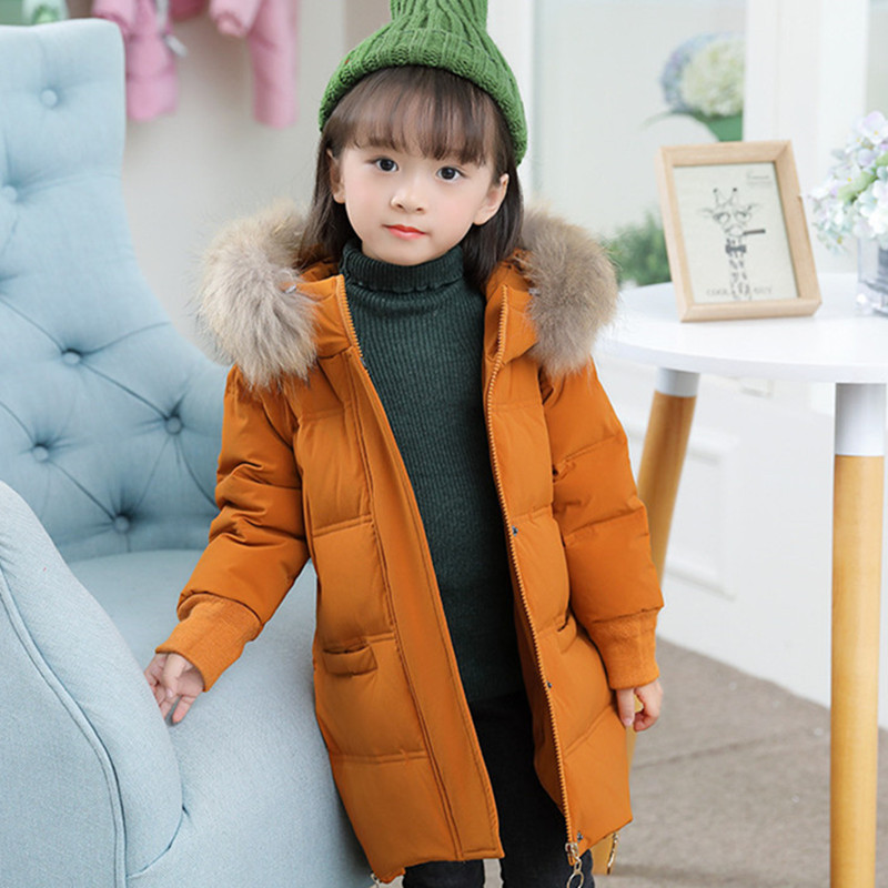 DFXD Children Girls Down Jacket 2017 High Quality Winter Soild Long Zipper Big Fur Collar Thick Outwear Kids Fashion Coat 2-8Y mioigee girls fashion fur collar winter outerwear hooded thick children girls long duck down jacket coat high quality