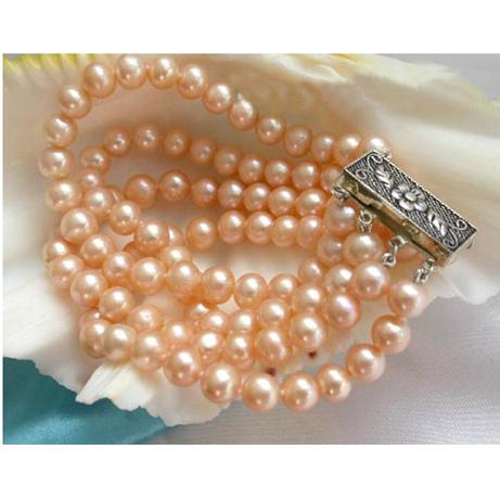 все цены на Perfect Round Pearl Jewellery,Top Quality 4 Rows 7-8mm Pink Color Natural Freshwater Pearl Bracelet,Nice Women Birthday Gift онлайн