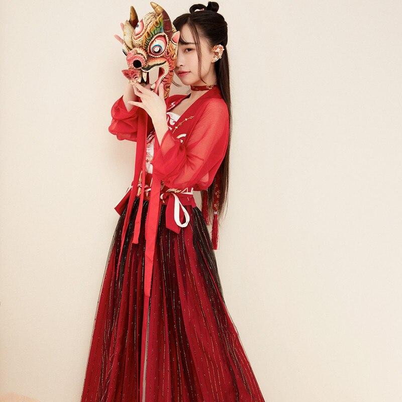Ancien Costume traditionnel chinois Tang Qing dynastie Guzheng Performance vêtements fée ensemble princesse dynastie chine Hanfu DWY1329