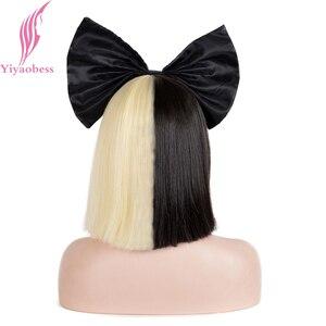 Image 4 - Yiyaobess 10 cal syntetyczne krótkie włosy typu ombre kobiety prosto SIA peruka Cosplay Mix czarny jasny złoty Bob peruki na imprezę