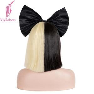 Image 4 - Yiyaobess 10 inç Sentetik Kısa ombre saç Kadın Düz SIA Peruk Cosplay Mix siyah ışık Altın Bob Peruk Için Parti