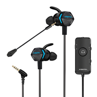 Xiberia MG-2 Pro Stereo Bass Gaming Ohrhörer mit Abnehmbare Noise Cancelling Mic, 4D Vibration 7,1 Surround Stereo Sound Licht