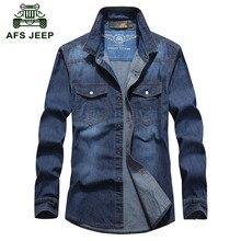 AFS JEEP 2016 Big size M-5XL cowboy style shirts spring men's casual brand tops man autumn 100% cotton fashion long sleeve shirt