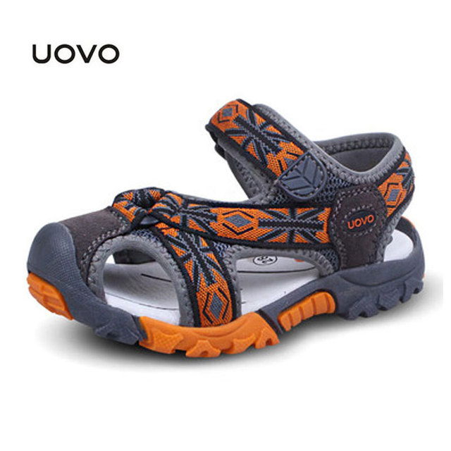Children Beach Sandals New Summer Flag Toe Cap Covering Shoes Kids Sandals Flip Flops Uovo Brand Designer Children Beach Sandals