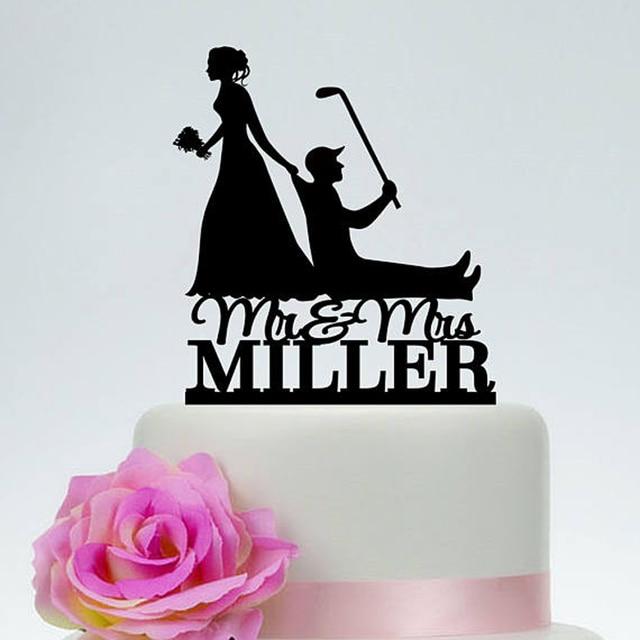 Golf Cake Topper,Bride Dragging Groom, Funny Wedding Cake Topper ...