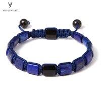 New 8mm Lapis Macrame Men Bracelet Square Blue Lapis Lazuli Beads Braiding Adjustable Bracelet Men/Women Handmade Jewelry