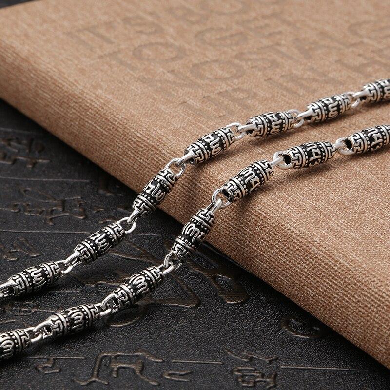 925 bijoux en argent sterling vintage style chinois nouveau collier de mode pour hommes personnalité Om mani padme hum chaîne en argent