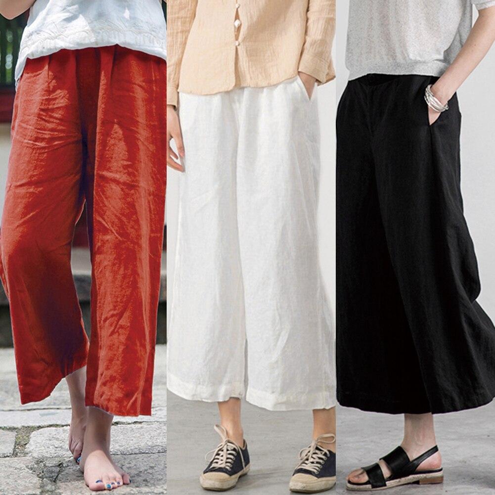baggy   pants   Women Cotton   Pants   Soft   Wide     Leg     Pants   Elastic Waist Solid Casual Loose female Summer Trousers Plus Size 3XL 4XL 5XL