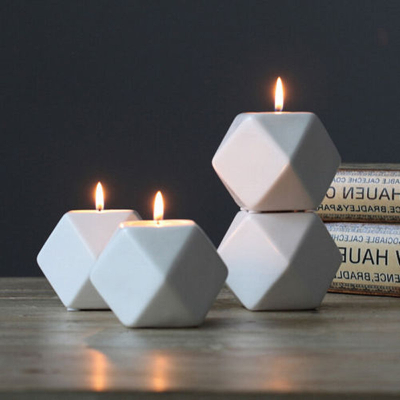 1 Pcs Nordic Style White Ceramic Geometry Candle Holder