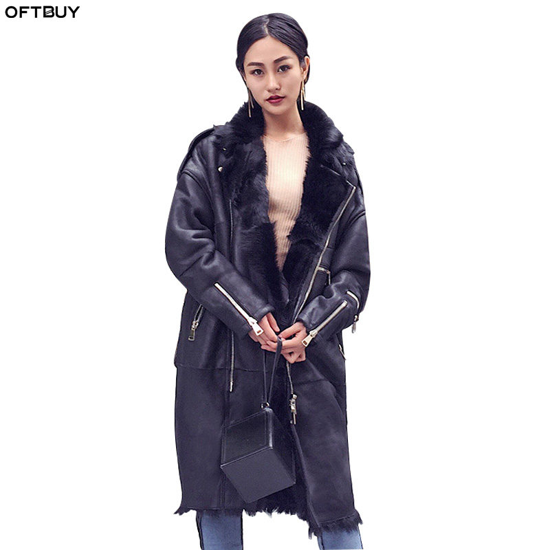 OFTBUY 2019 Real Fur Coat Winter Jacket Women Long Genuine Leather Warm Thick Sheep Fur Liner Double-faced Fur Parka Oversize