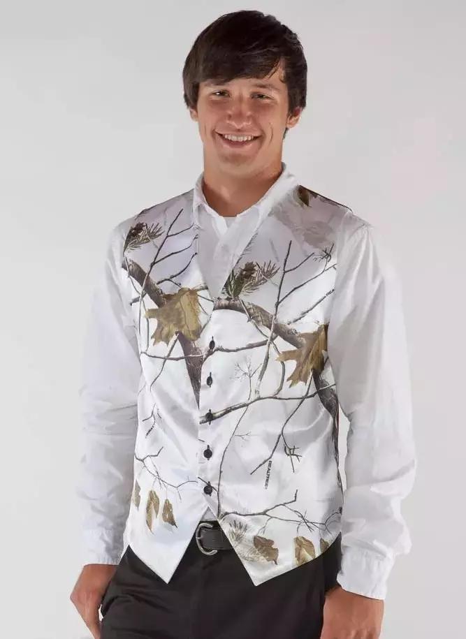 White Camo Men Vest Camouflage Mens Suit Vest Slim Groom Vests Realtree Camo Outerwear Spring Autumn Summer Wedding Vest Men