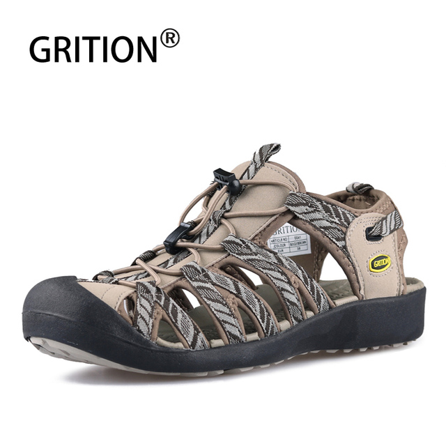 GRITION Women Outdoor Sandals Summer Breathable Toecap Beach Shoes Lightweight Rubber Sole Hiking Sandals Female Casual Footwear
