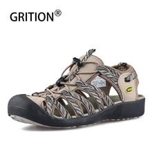GRITION נשים סנדלי חוף קיץ לנשימה חרטום נעל ספורט חיצוני נעלי גומי קל משקל נשי מזדמן נוחות טיולים סנדלי