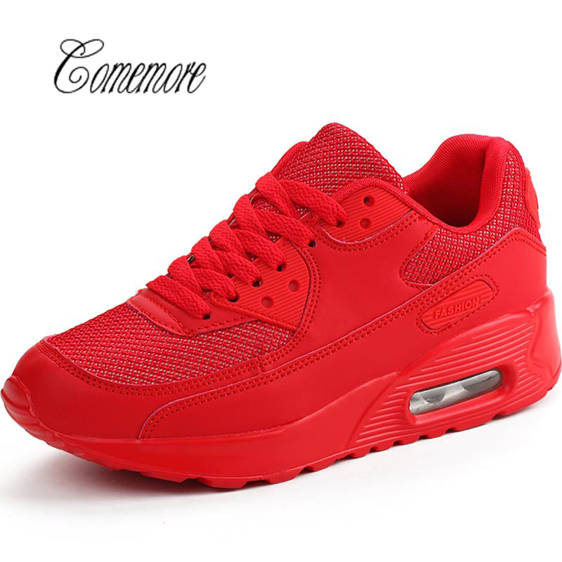 Comemore  Breathable Women's Sport Shoes Sports Sneakers Men Running Shoes For Women Tennis Shoes Woman Summer Train Red