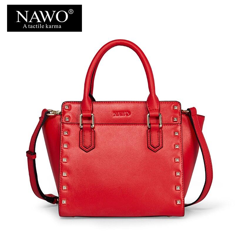3b7ad1a60db NAWO Split lederen Vrouwen Schoudertassen Fashion Rivet Vrouwen Tassen  beroemde Merk Dames Hand Tassen Designer Messenger Bags Sac Een  belangrijkste in NAWO ...