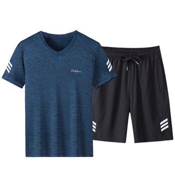 040f4dce8 Rlyaeiz 2019 conjunto de verano para hombre chándal Casual traje deportivo  para hombre a rayas con cuello en V camisetas + Pantalones cortos traje de  ...