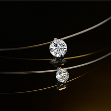 Dazzling Zircon Pendant Transparent Fishing Line Necklace Silver Color Invisible Chain Women Rhinestone Choker