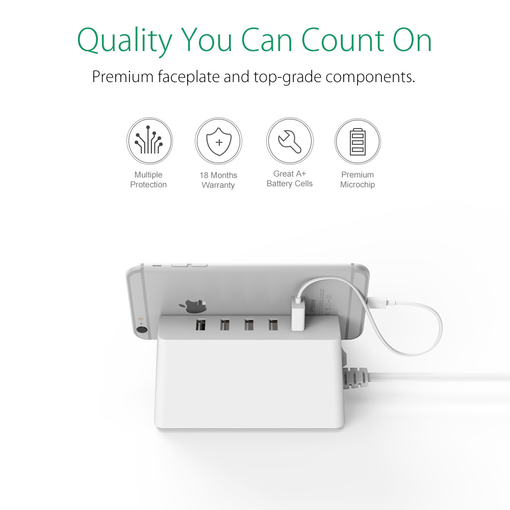 ORICO USB Smart Power Strip 2 AC Outlet Surge Protector with 5 USB Charger Port Smart extension Socket Charger for Office Home