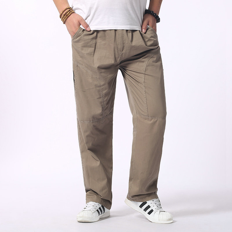 5a31a6e9d Man Loose Fitting Cargo Pants Yellow Black Gray Khaki Overall Mens Cotton  Comfort Trousers Elastic Waist Pant American Apparel-in Cargo Pants from  Men's ...