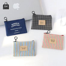 1 PCS lovely Simple wind canvas Zero wallet children Small Clutch Wristlet lady zipper Wallet Change Pocket Pouch Bag Keys Case