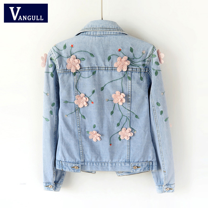 VANGULL Denim Jacket Coat Women Embroidered Stereoscopic Flower 2019 New Spring Elegant Coats Girls Sweet Outwear Short Jackets