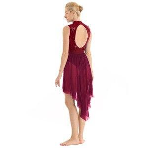 Image 5 - 여자 고삐 민소매 반짝 이는 sequined 높은 낮은 메쉬 체조 레오타드 스케이트 발레 댄스 복장 성인 서정적 인 댄스 의상