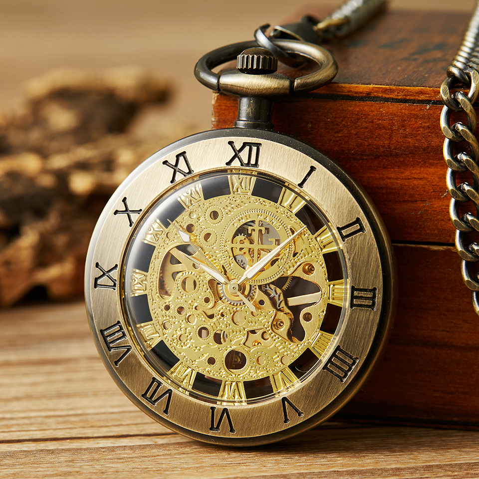 Unique Mechanical Pocket Watch Fob Watches With Chain Men Women Hand-winding Clock Roman Numbers Laser Engraved Without Battery
