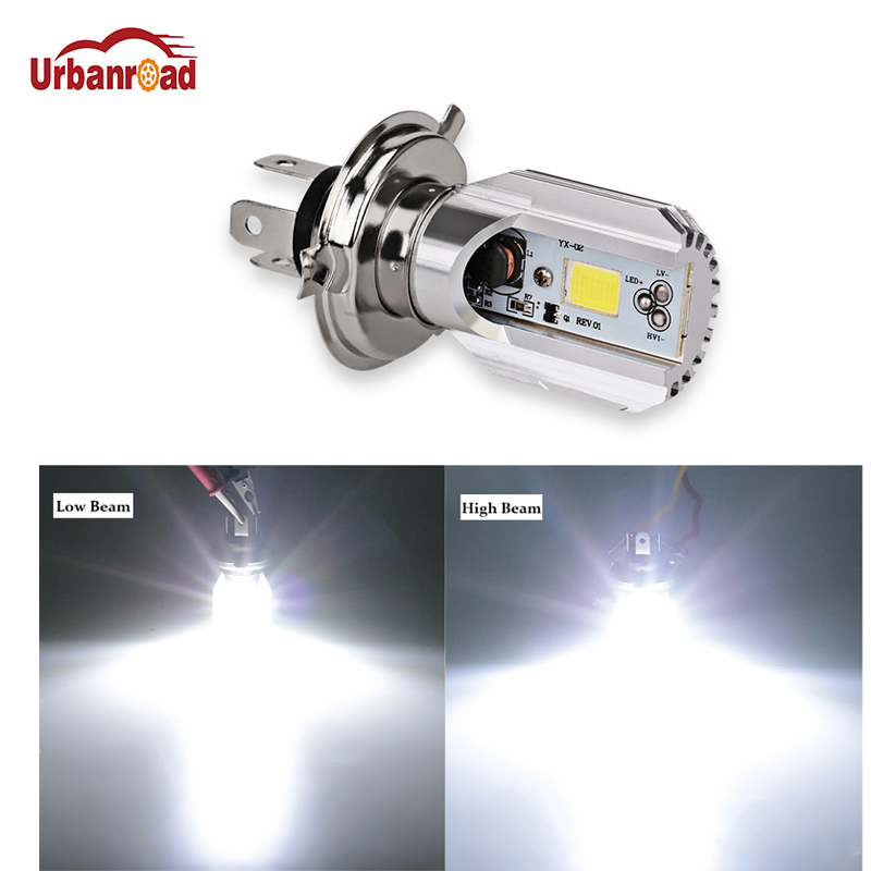 Urbanroad 1Pcs H4 6000K 12V HS1 Led Motorcycle Scooter Light Bulb Motorbike h4 Led Headlight Motorcycle Moped Light Bulbs creadvent all in one h4 hs1 motorcycle led headlight 16w 1700lm 6000k motor bulb scooter accessoire