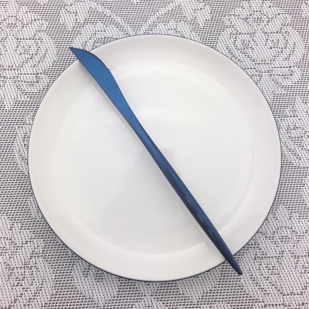 32 stks/8 set Groothandel Kleurrijke Blauw Bestek Bestek Set Rvs Zwart Vorken Messen Lepels Servies Set Drop verzending - 2