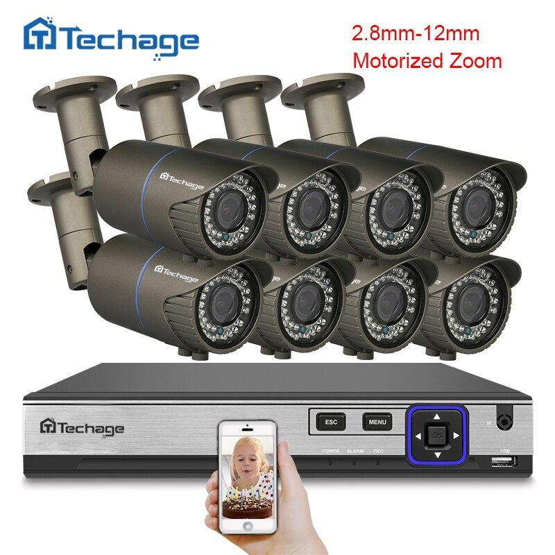 Techage 4MP Камера CCTV Системы H.265 8CH POE NVR комплект 2,8 мм ~ 12 мм моторизованный авто зум-объектив IP камера видеонаблюдения Системы