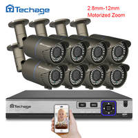 Techage H.265 8CH 4MP POE NVR Kit CCTV System 2.8mm~12mm Motorized Auto Zoom Lens IP Camera Video Security Surveillance System