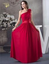2018 New Design Vestido De Festa Chiffon Red Zipper Back One Shoulder  Formal Long Evening Dresses e81280398109