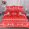 BeddingOutlet Christmas Bedding Set Red And White Elk Duvet Cover For Festival Moose Bedspreads Reindeer Knitting