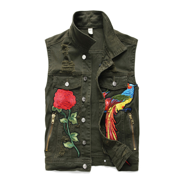 Newsosoo Mode de Style Hommes Déchiré Denim Gilet Hip Hop Broderie Fleur Phoenix Jeans Veste Gilet Pour Les Hommes