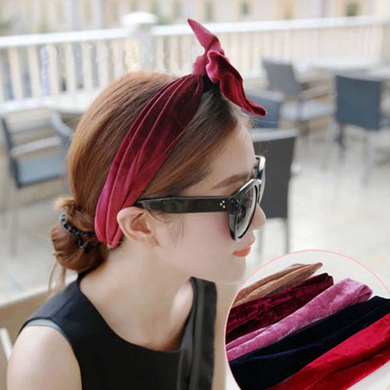 Vintage Bohemian Velvet Long Headband With Wire Knot Holiday Ethnic Hairband Hair Accessories