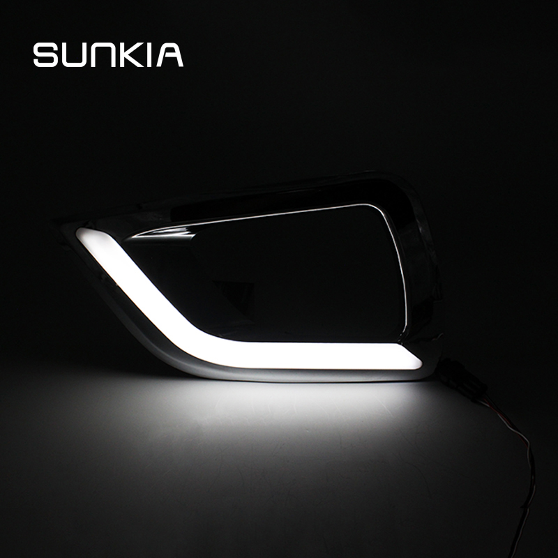 SUNKIA LED Daytime Running Light for Nissan Navara NP300 2015 2016 2017 DRL Chrome Fog Lamp Cover Driving Bulb With Turn Signal for nissan patrol y62 armada accessories original design fog lamp with chrome fog light cover