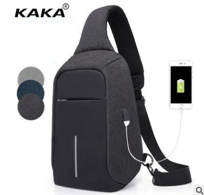 KAKA Men Messenger Bag USB Sling Bag Man shoulder chest bag Oxford Day pack Waistpack bag Back Pack for man ferrino o hare day pack