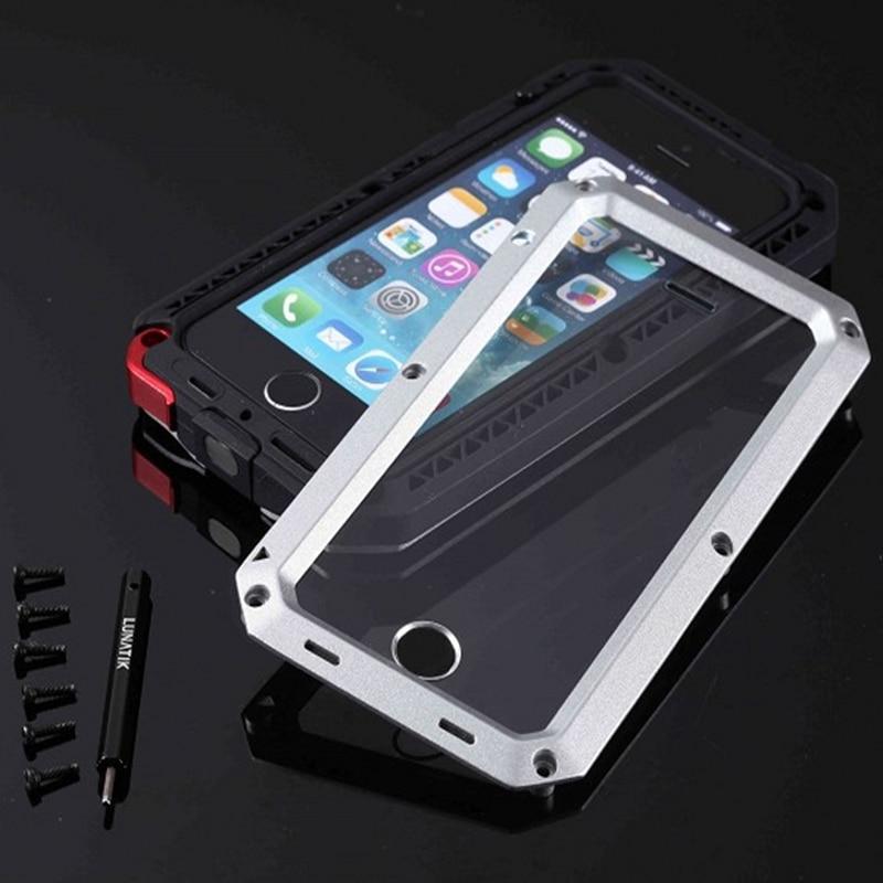 imágenes para De Alta Resistencia De Aluminio de Metal Duro Caso Para el iphone de Apple 5 5S 5G Suciedad-resistente Fresco de Doble Capa de Armadura Cubierta Del Teléfono de La Manga Para iPhone5